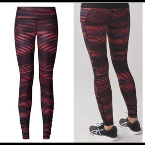 Lululemon Speed Tight red black striped leggings